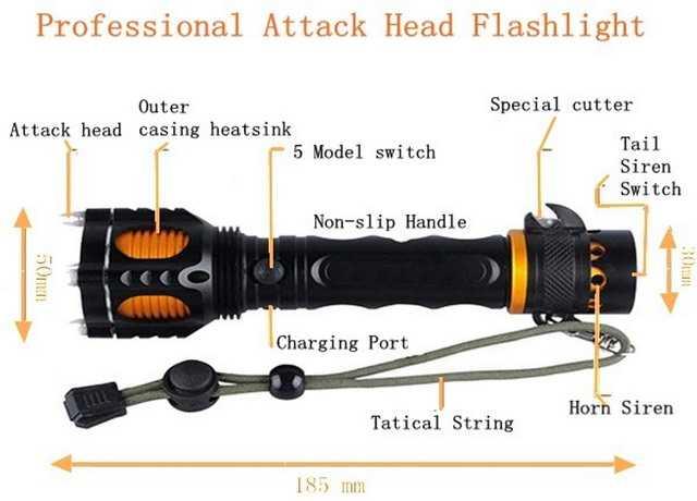 6)Бюджетный тактический фонарь