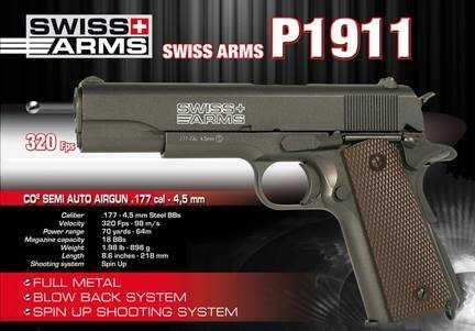 1)Пневматический пистолет Swiss Arms P1911