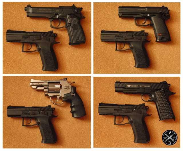 Сравнение размеров пневматических пистолетов