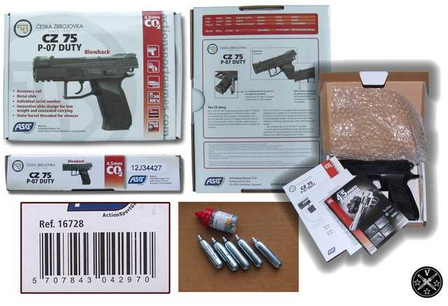 Упаковка пневматического пистолета ASG CZ75 P07 Duty