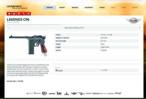 Umarex Legends C96 на сайте производителя