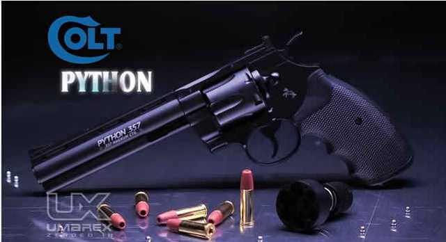 пневматический револьвер Umarex Colt Pyhon в реклаьном ролике
