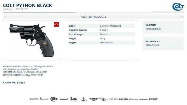 Пневматический пистолет Colt Python Black на сайте компании Umarex