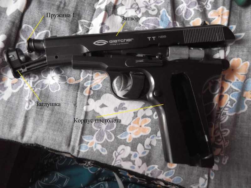 5)Полная/неполная разборка пистолета Gletcher TT NBB