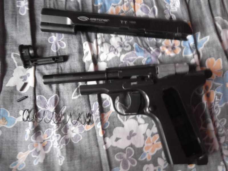 6)Полная/неполная разборка пистолета Gletcher TT NBB