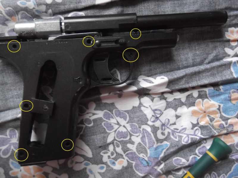 9)Полная/неполная разборка пистолета Gletcher TT NBB