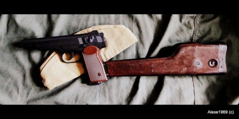 7)Пневматический пистолет Gletcher APS-P с кобурой - фотообзор.