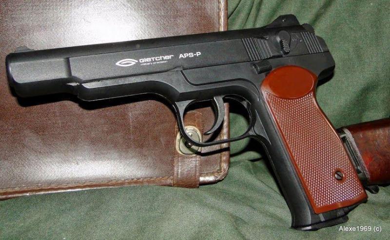 4)Пневматический пистолет Gletcher APS-P с кобурой - фотообзор.
